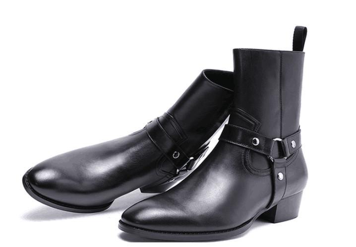 mode de sortie d'usine bout pointu hommes Persional bottes nouvelle liste 100% véritable mode en cuir boucle Bracelet cheville chaussures en daim slp
