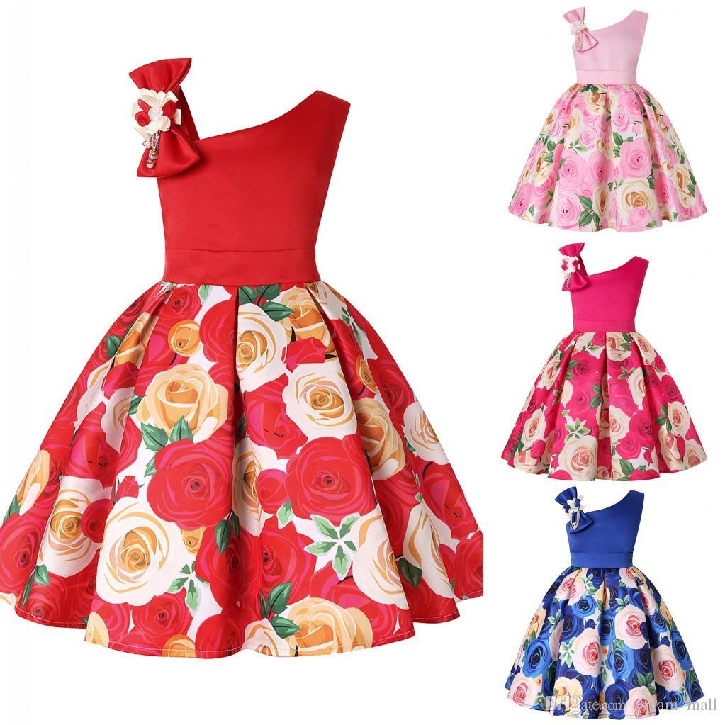 Floral Printed Flower Girl Dress Sleeveless Skew Shoulder Formal Birthday Party Tutu Gown Children Kids Clothes