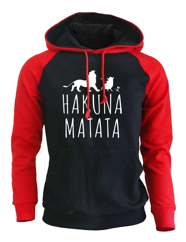 2018 Nova Chegada Hoodies Homens Impressão Engraçada Hakuna Matata Streetwear Outono Inverno Camisola De Lã Para Sportswear Dos Homens Harajuku C19041901