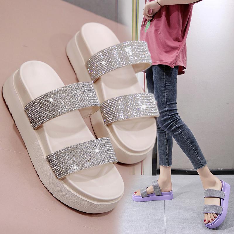 Zapatos planos de las zapatillas de casa femenino Plataforma de lujo Diapositivas jalea de las chancletas Shose Mujeres Pantofle Med en una cuña del brillo diseñador