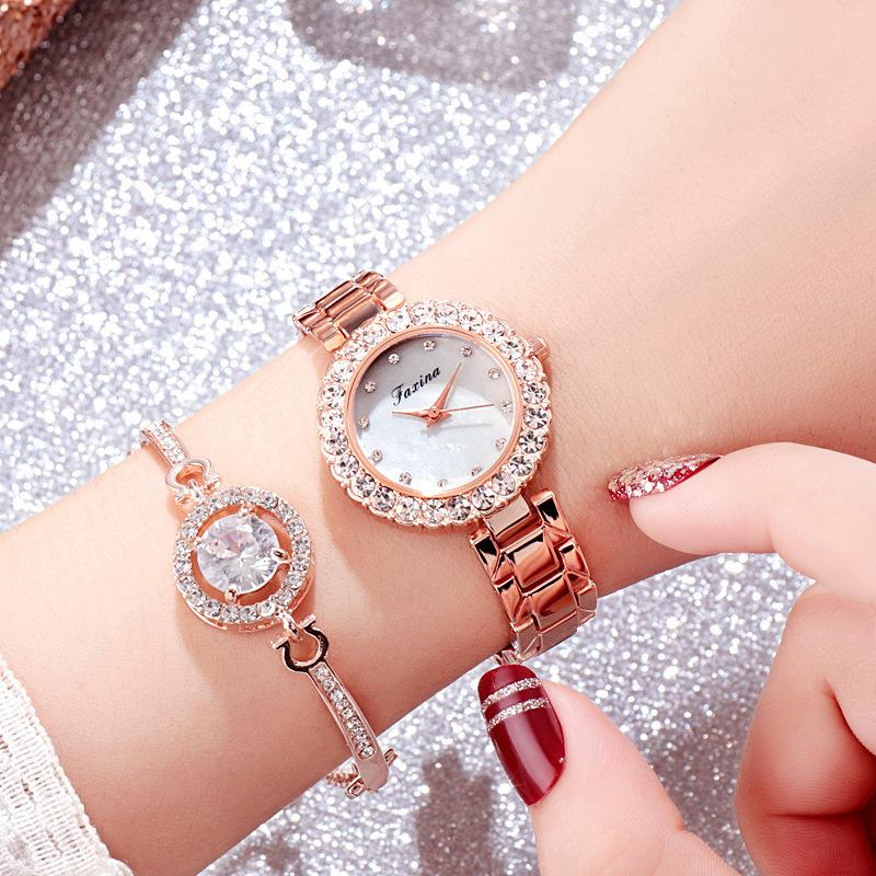 2 unids / set Nueva Moda Rhinestone Meteorito Relojes de Lujo de Las Mujeres Reloj de Pulsera de Oro Femenino Relojes de pulsera de Cuarzo C19041202
