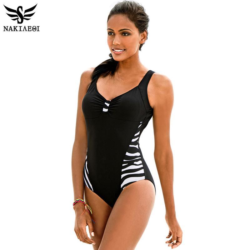 NAKIAEOI 2019 Newest One Piece Swimsuit Women Bathing Suits Vintage Summer Beach Wear Swim Suit Stripe Plus Size Swimwear 5XL