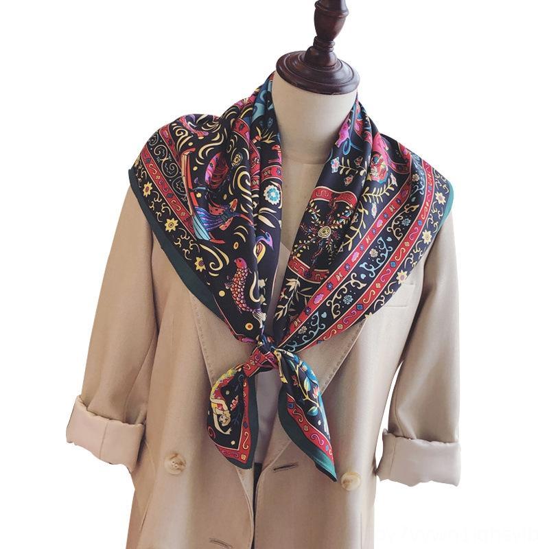 Tiktok ancla coreana nuevo tema del traje del verano del resorte 90 cm de seda bufanda de seda de la tela cruzada de la ropa étnica verano bufanda todo el partido protector solar chal