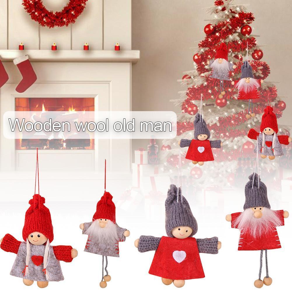 Schöne Weihnachtsbaum hängende Weihnachtsdekoration Innovative Holz-Jungen-Mädchen-Puppe-Baum-Anhänger Mini Doll 2020