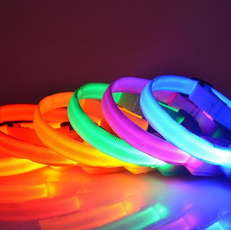 Светодиодная галстука для собаки равнина цветной полиэфирного воротника нейлоновый домашнее животное ожерелье для собак ожерелье для собак маленький и среднего размера продукты LXL713Q