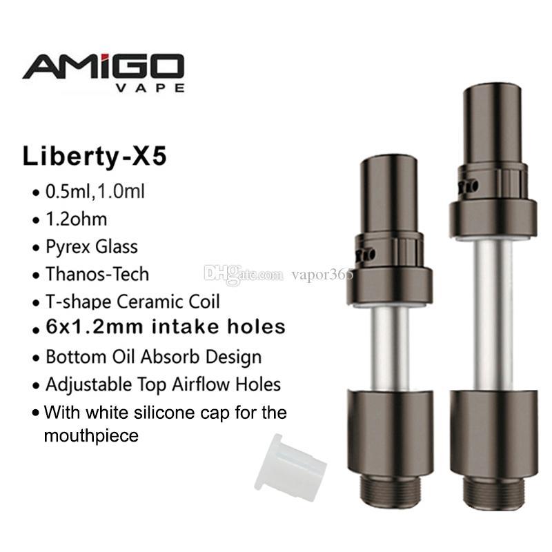 Amigo Liberty X5 Vape Kartuşları 1 ml 0.5 ml Cam Tankı Kalın Yağ Kartuşları Thanos-Tech Vape Kalem Atomizer Seramik Bobin Buharlaştırıcı Ile LOGO