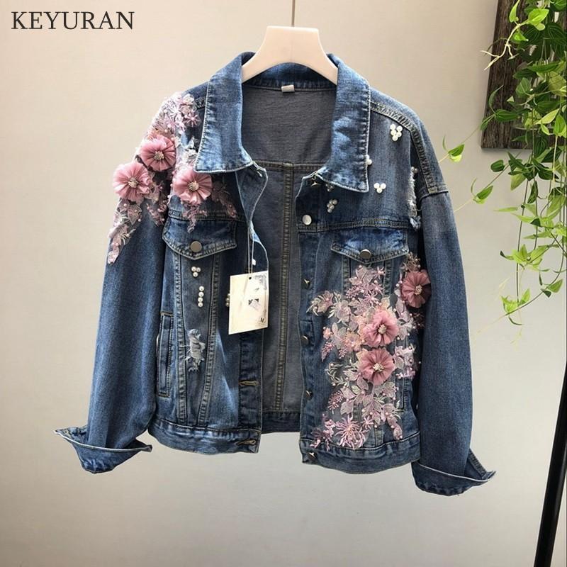 2018 Jeans Outono Primavera Jacket Brasão Mulher Nova pesado Stereo bordada flor rosa Buraco Denim Jackets Student Básico Coats L2668