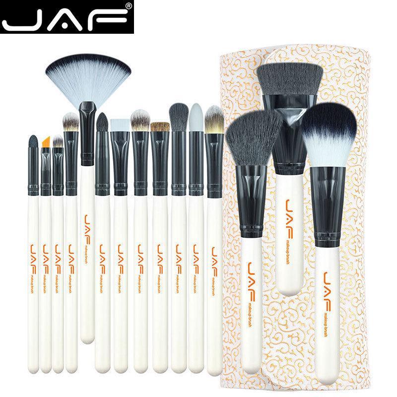 Estúdio de 15 peças Kit de Escova de Maquiagem Super Macio Titular Capa de Couro Pu Make Up Brush Set J1504c-w