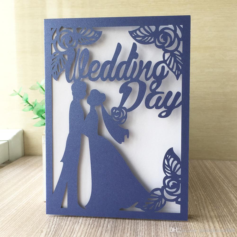 15PCS /lot Hollow Laser Cut Wedding Ceremony With Bride And Groom Marriage Lovers Invitations Theme Party Decoration Supplies