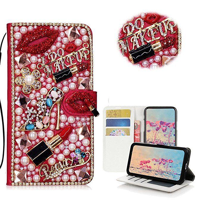 Diamant-Kuss-Lippenstift-Absatz-Blumen-Handtaschen-Kasten für iPhone 11 Pro maximales XS maximales XR X 8 7 plus Samsung-Galaxie-Anmerkung 10 9 8 S10 / 9/8 plus S10E