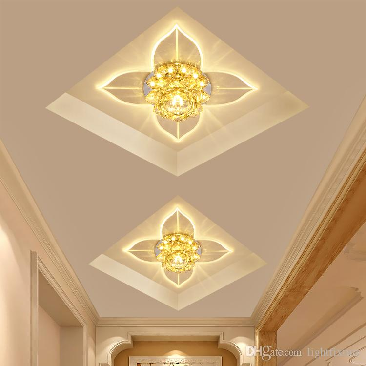 Kristal Çiçekler Tavan Işık Bırakır Koridor Sundurma Giriş Koridor Balkon Spot Modern Basit 3 W LED Tavan Lambası