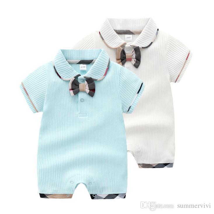 Designer Baby Rompere Boys Treccia intrecciati Tie Tie Cotone Sultsuits Infant Girls Great ByPel Geppotto a manica corta Climb Vestiti Pannolino F5484