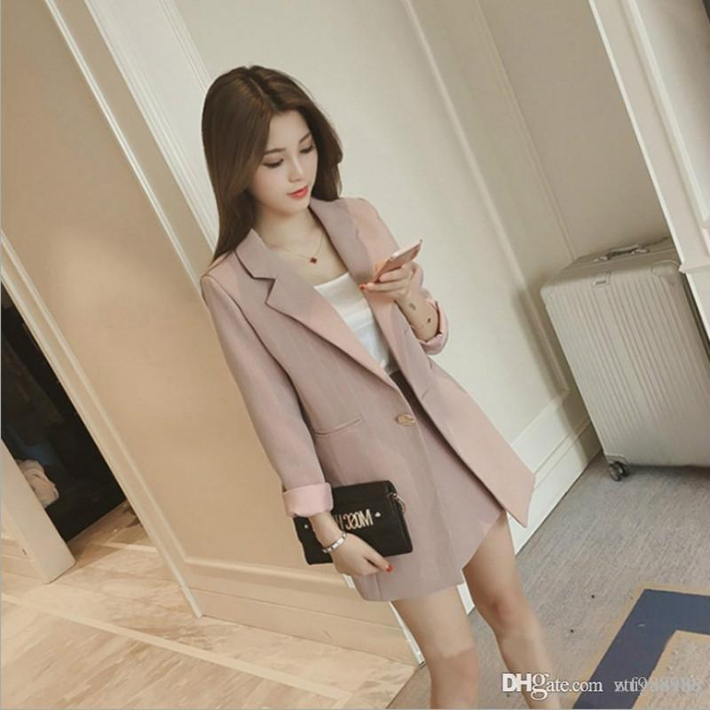 2019 Spring Summer Women Sets Striped Blazers Coats Long Sleeve Loose Suit Jackets+Elastic Waist Shorts Two Piece Suits Lady