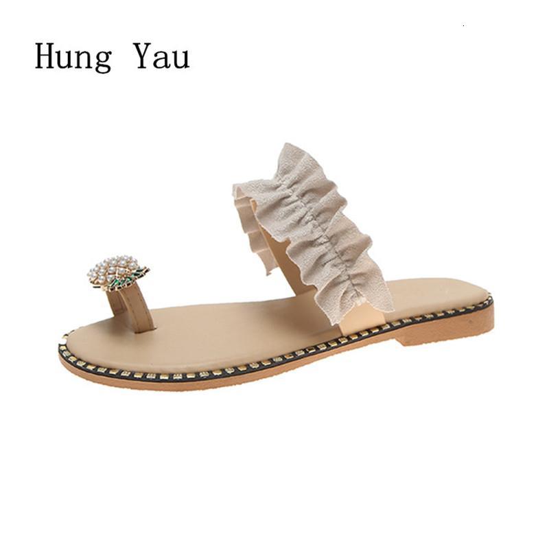 Sandales femme Tongs Chaussons Chaussures Flats Chaîne de perles d'été Mode Femme Wedges Diapositives Ananas Lady précarisés LY191202