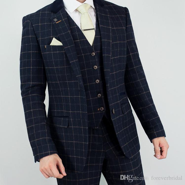 Navy Mens Wedding Tuxedos Wool Check Regular Fit Novio pantalones trajes por encargo formal Blazer