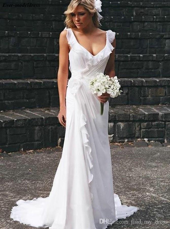 Новое Поступление Шифон Пляж Свадебные Платья Простые Свадебные Платья V Образным Вырезом Спинки Развертки Поезд Чешский Плюс Размер Невесты Платья