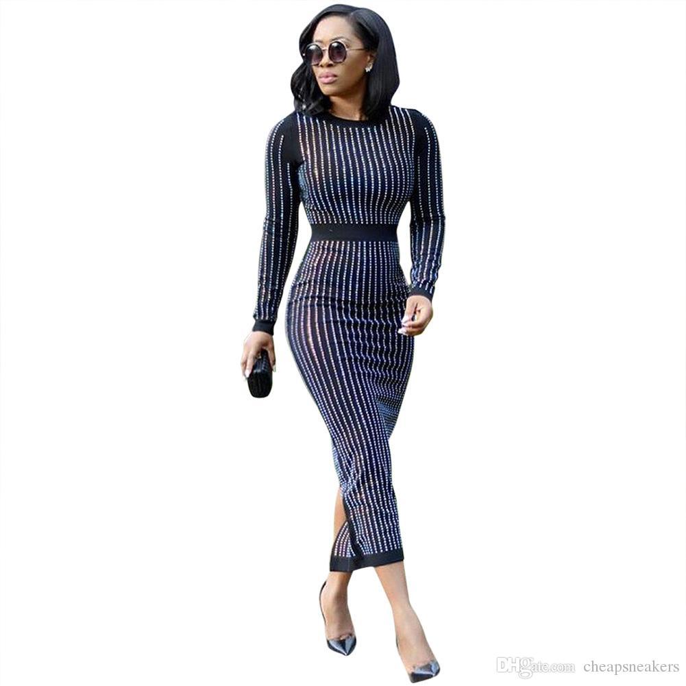 Perforación en caliente Sexy Bodycon vestidos de mujer Y147 buena Flexibilidad negro rojo azul tamaño a 3XL
