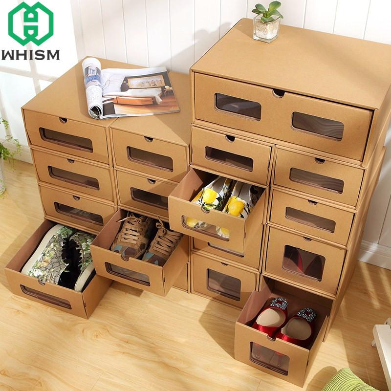 wholesale DIY Kraft Paper Shoe Storage Box Sports Shoes Holder Makeup Organizer Shoe Rack High Heels Container DIY Shoe