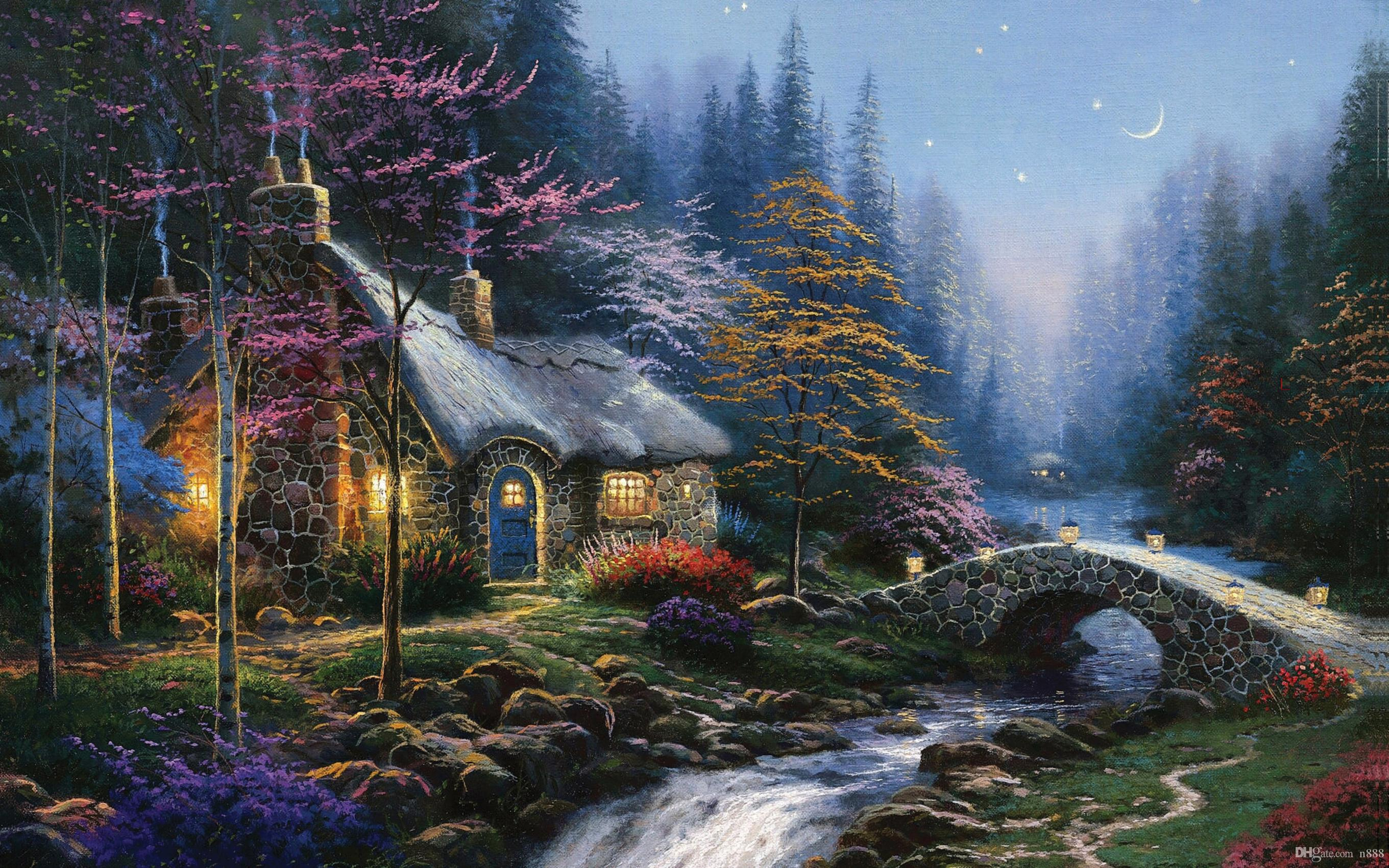 Thomas Kincaid River at night 1-28 Home Decor Handpainted &HD Print Oil Painting On Canvas Wall Art Canvas Pictures 191113