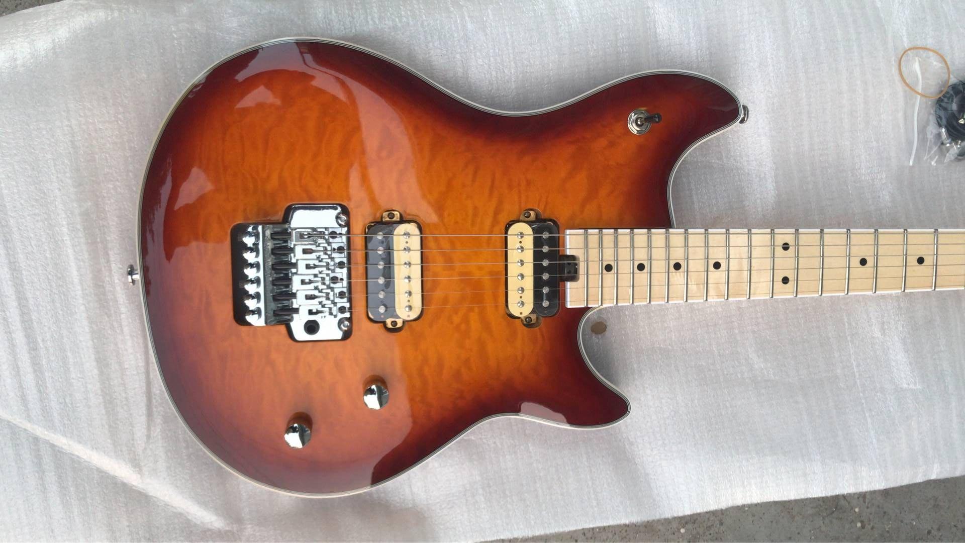Edward Van Halen Gang MusicMan Ernie Balle Axe Brun Sunburst Quilted Maple Top Guitare Électrique Manche En Érable, Floyd Rose Tremolo Écrou De Blocage