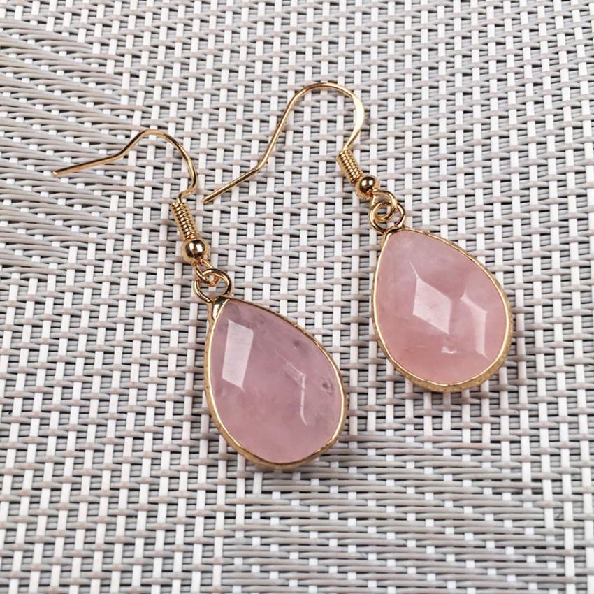Venta al por mayor 10 pares Pendientes colgados de oro Pendientes Drop Drop Cuarzo Rose para mujer Opalite Opal Jewelry