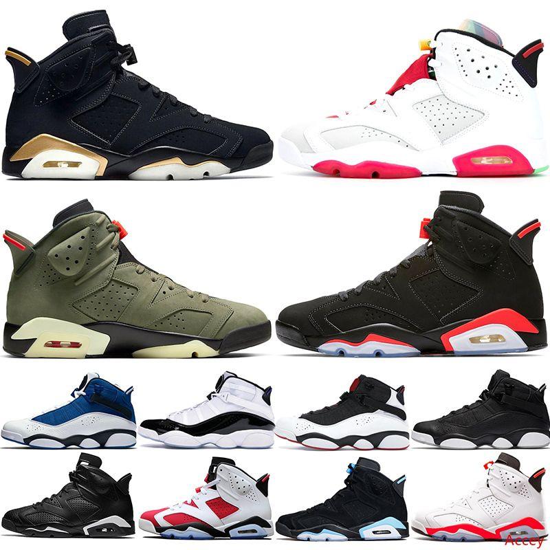 Stock 6S Hommes Chaussures de basket Hare 6 Anneaux Hommes DMP Olive Noir Mi-Infrarouge Bred Concord 2020 Baskets sport Chaussures de sport Taille 40-47