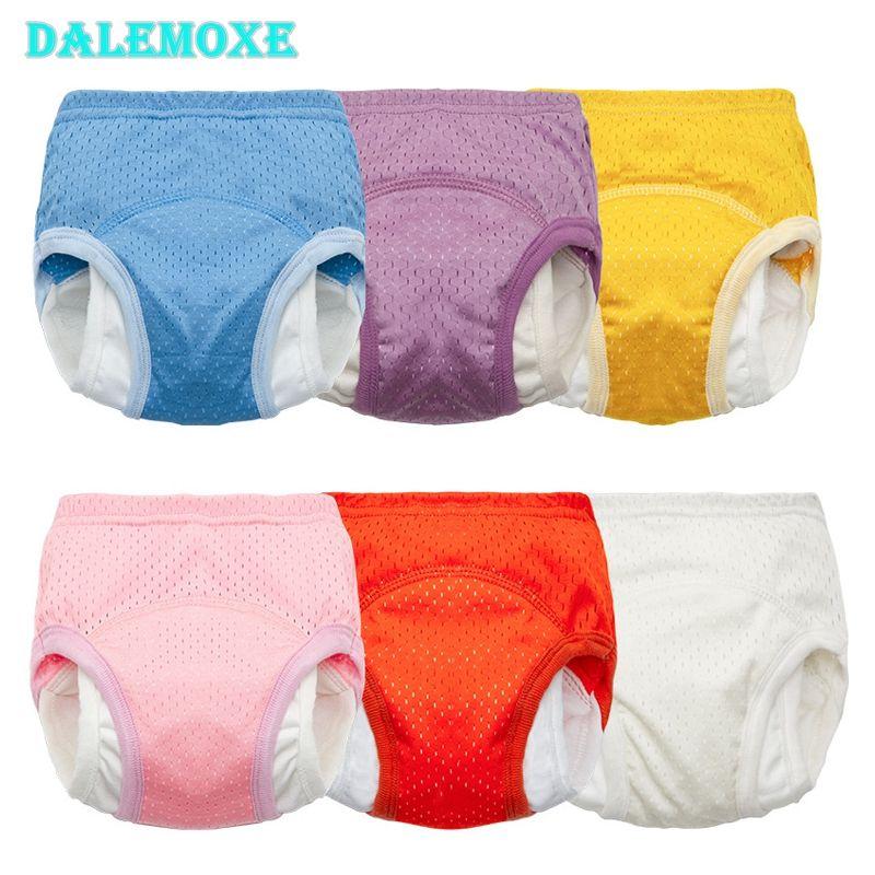 Подгузники ткани DaleMoxu Летние дети обучающие тренировочные брюки льда шелковые сетки подгузники детские трусики марля родились многоразовые нижнее белье