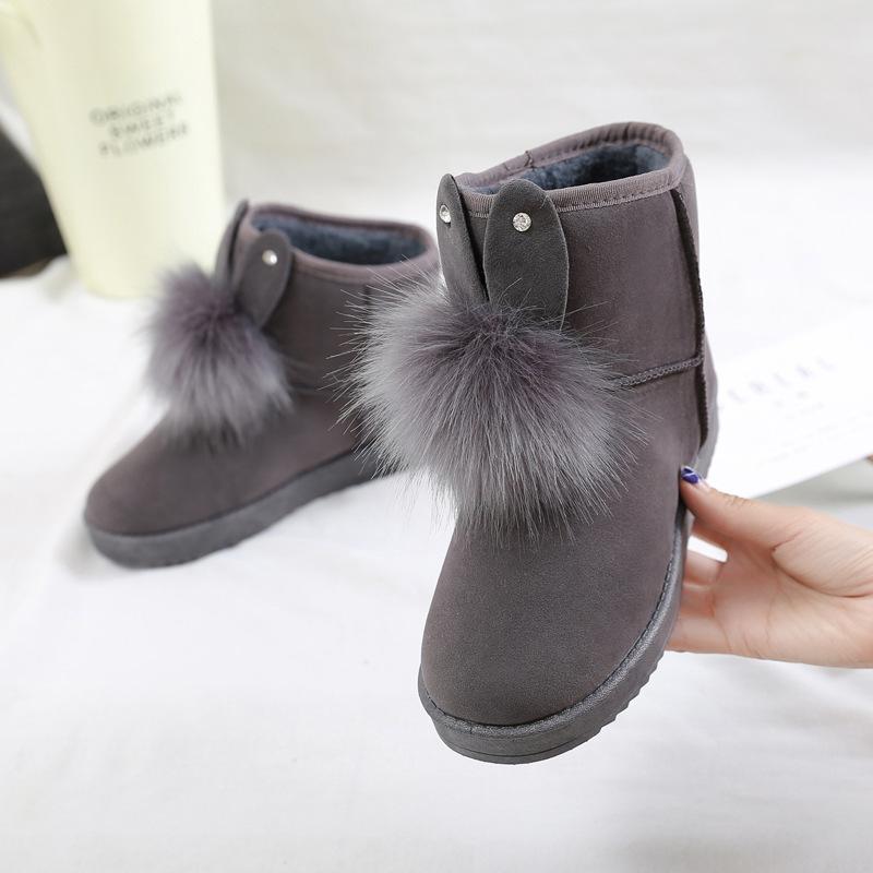 Снег сапоги женские 2020 зима новый корейский стиль короткой трубы лук Симпатичные замша Короткие сапоги Студенты Flat хлопок обувь