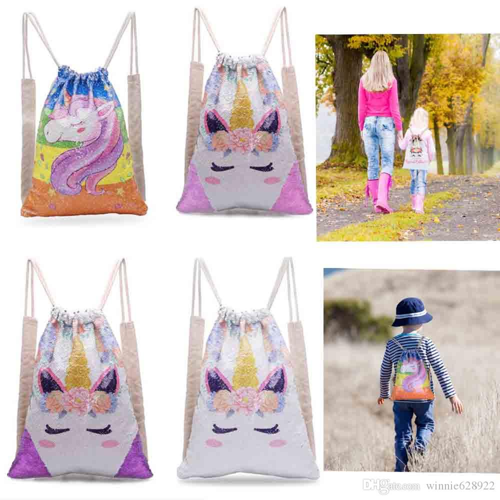 New summer Sequin Drawstring backpack leisure outdoor sport backpack Unicorn print fashion good quality Hot sale
