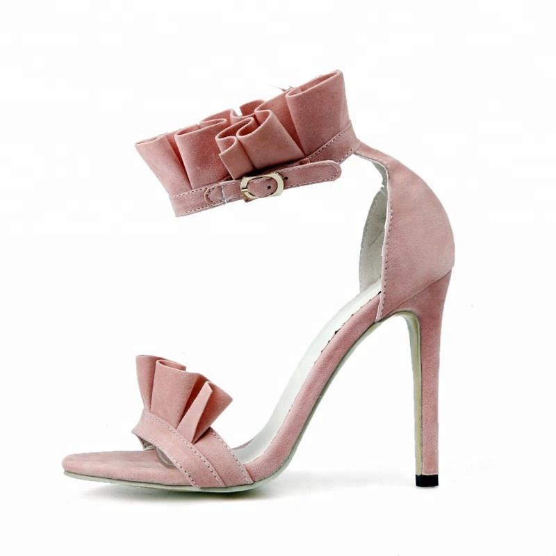 Bombas doces saltos altos aberto dos pés sandálias de verão com tira no tornozelo fivela sapatos de casamento festa mais tamanho 52