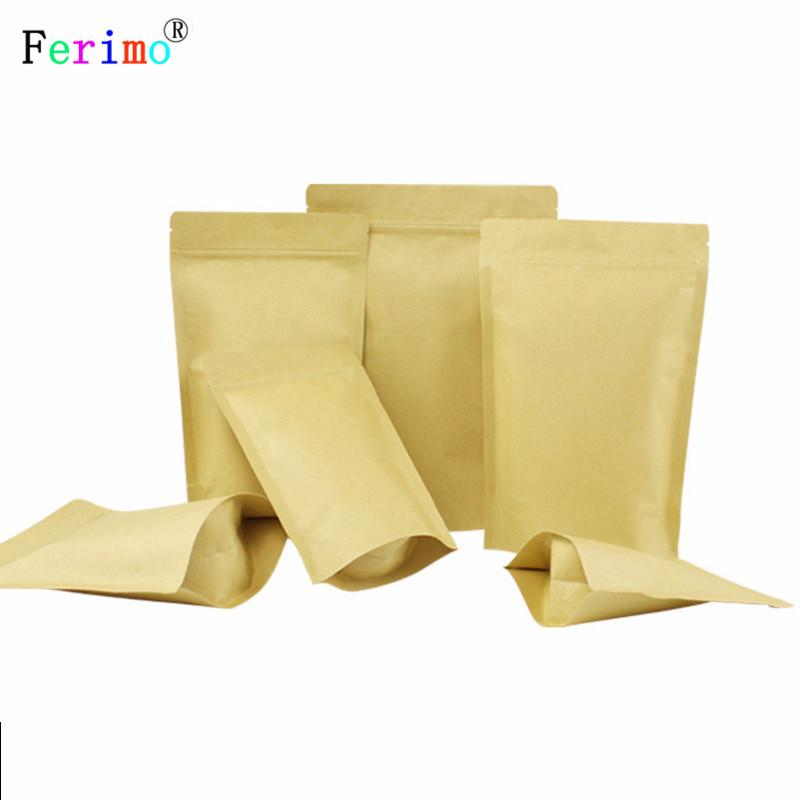 Multi Sizes 100pcs Herb Coffee Tea Retail Zip Lock Storage Bag Reclosable Brown Kraft Paper Stand Up Pouches