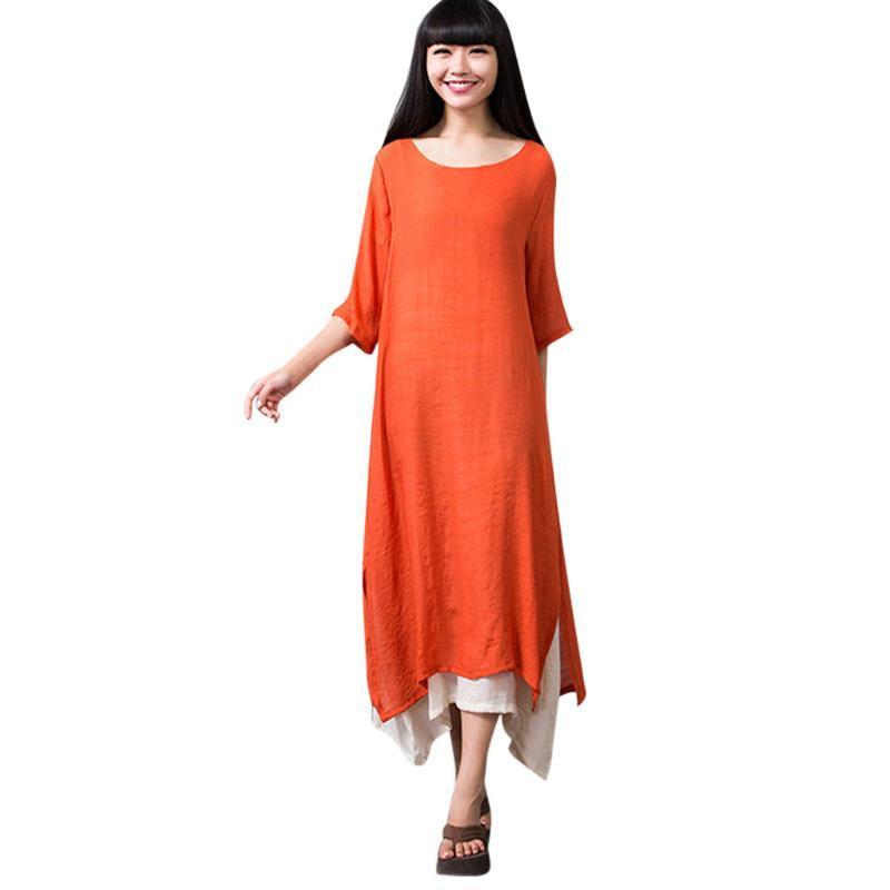 Vestimenta de las mujeres de lino del algodón del O-cuello del estilo nacional flojo verano más el tamaño de vestidos Ropa De Mujer Verano 2020 # LR3