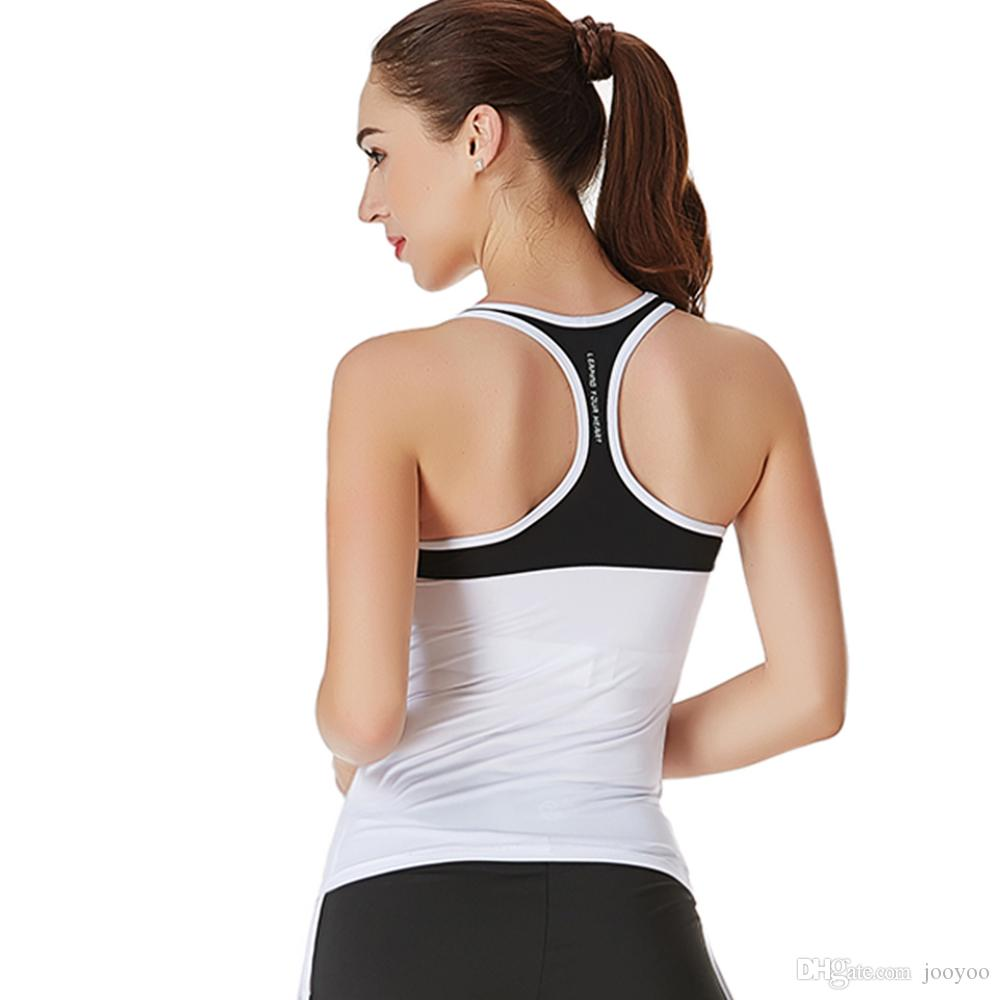 Sports Vest Female Long Section Summer Running Fitness Yoga Clothing Without Sleeves Chest Pad Quick-drying Tights jooyoo