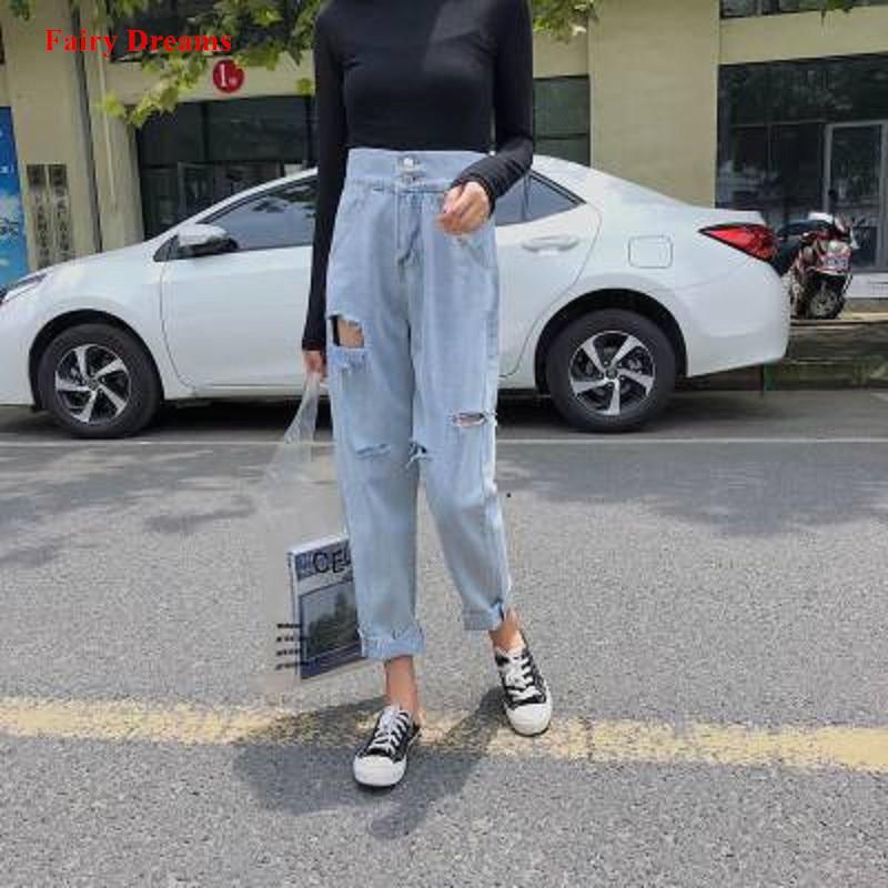 Kadın Kot Yüksek Bel Kot Bayanlar Rahat Kot Pantolon Delik Cepler Kore Moda Kadın Topraklar Denim Pantolon 2019 Peri Rüyalar