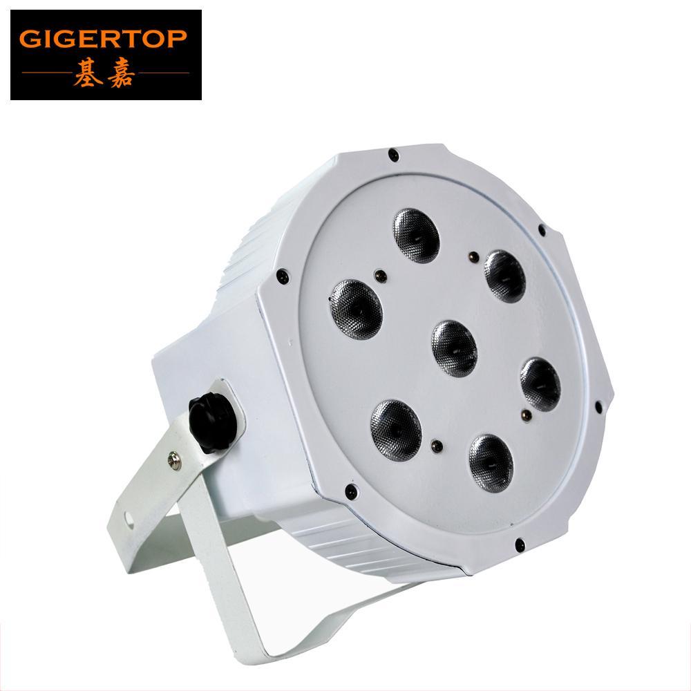 TIPTOP Stage Light TP-P07B Couleur Blanc Shell 7x12W RGBW plat LED Par lumière 4en1 mélange de couleurs Puissance / sortie du ventilateur de refroidissement silencieux 4/8 canaux