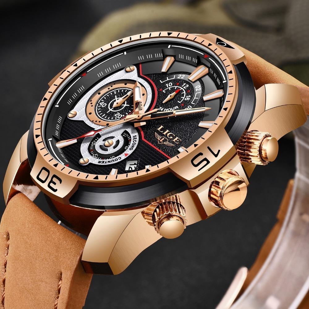2019 Lige Mens Watches Top Brand Luxury Casual Leather Quartz Clock Male Sport Waterproof Watch Gold Watch Men Relogio Masculino Y19051302