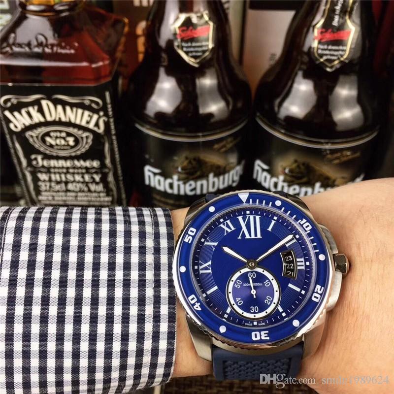2019 lujo azul automático 41 mm reloj para hombre Business Sports caucho impermeable para hombres reloj
