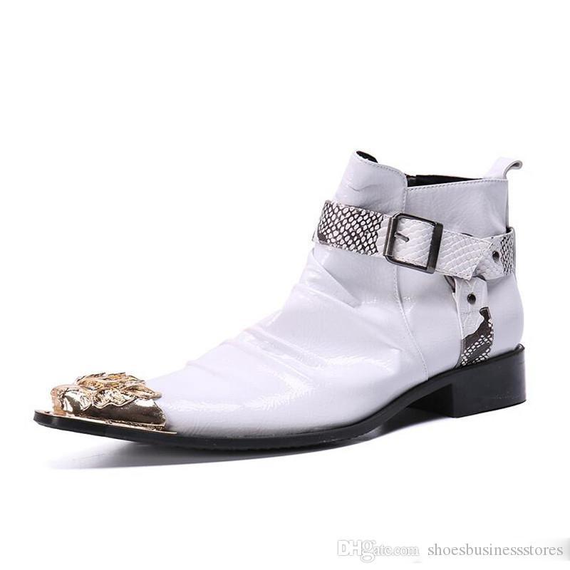 Британские Ретро Мужские Ботинки Из Микрофибры Белые Мужские Ботинки Мотоцикла Повседневная Обувь Мужской Моды Пряжки Качества Zapatillas