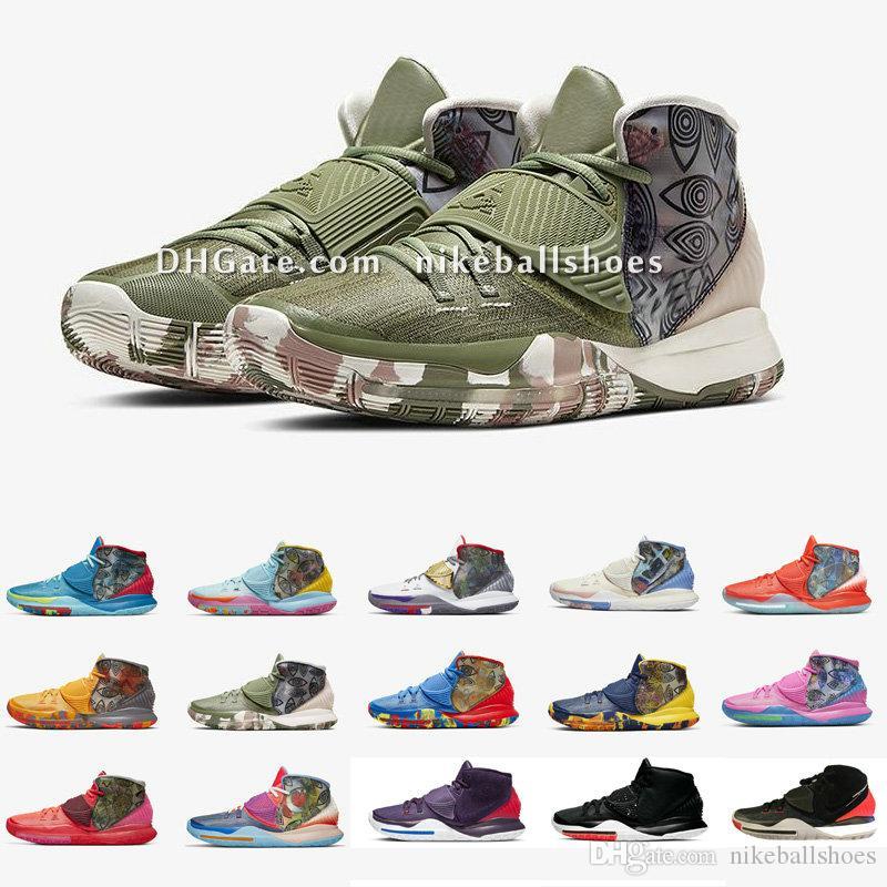 Kyrie 6 VI Préchauffez Basketbal Chaussures Irving Femmes Enfants Garçons Filles de chaussures de formation pour enfants 11 villes de la ville avec la taille de la boîte d'origine US4-12 N7