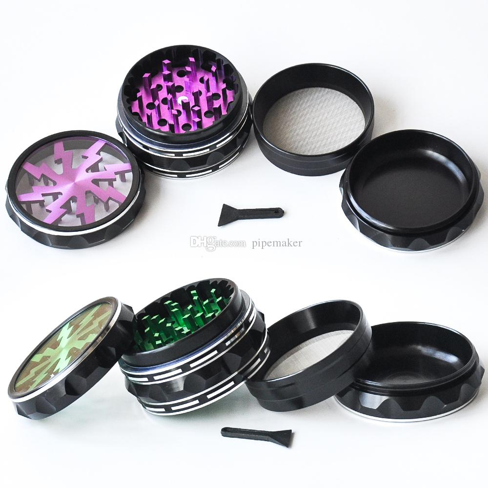 High Quality Tobacco Smoking Grinder 4 layers 6 colors Aluminum Alloy Herb Grinders Clear Top Window lighting Grinders free shipping