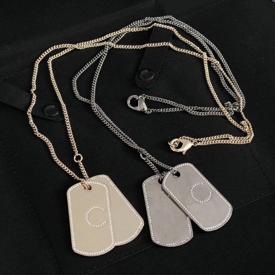 Модельеры марки двукратный бронзовый ожерелье замороженный из цепи для леди женщин партии любителей свадебного подарок ювелирных изделий для невесты с коробкой HB410