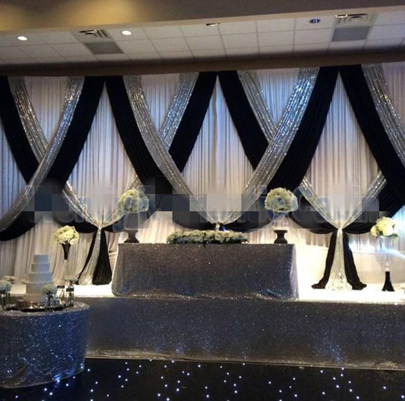 10ftx20ft Ice Seide White Wedding Hintergrund mit silbernen Pailletten Bühne Swag Hochzeit Photo Booth Kulisse für Party-Weihnachtsdekor