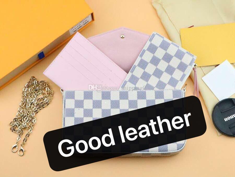 선물 상자와 020 새로운 3 종 세트 남성 가죽 지갑 여러 색상의 여성의 긴 지갑 카드 홀더