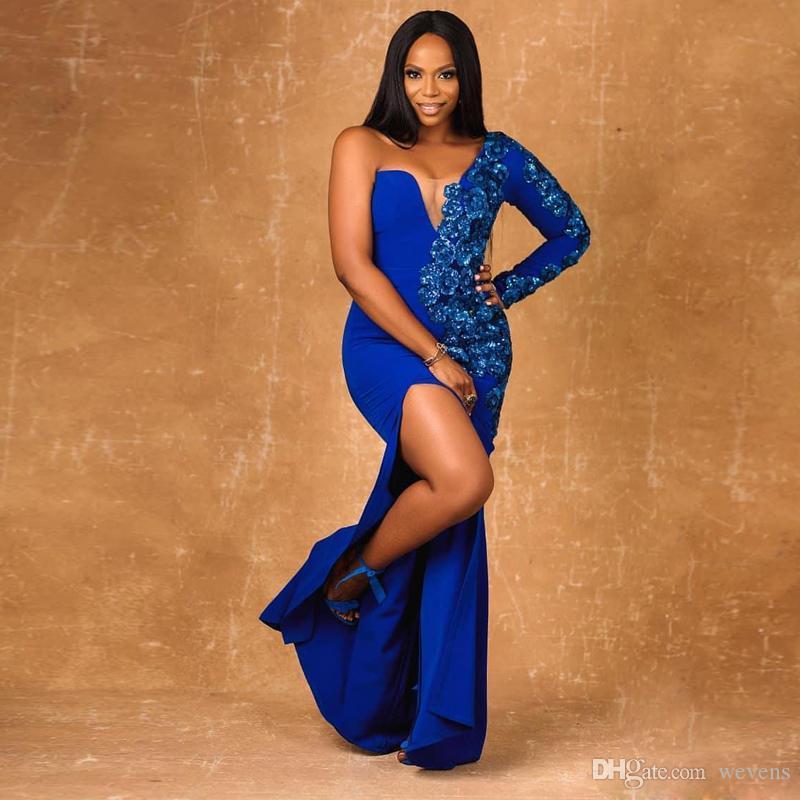 Королевское синее Вечерние платья на одно плечо Русалка Аппликации из блесток с разрезом Бальное платье из эластичного атласа с длинным коктейльным платьем