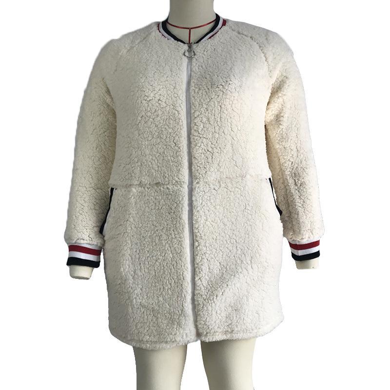 2019 Winter neue europäische und amerikanische Außenhandel Plüsch Strickjacke Mantel Modelle Größe Frauen Mantel