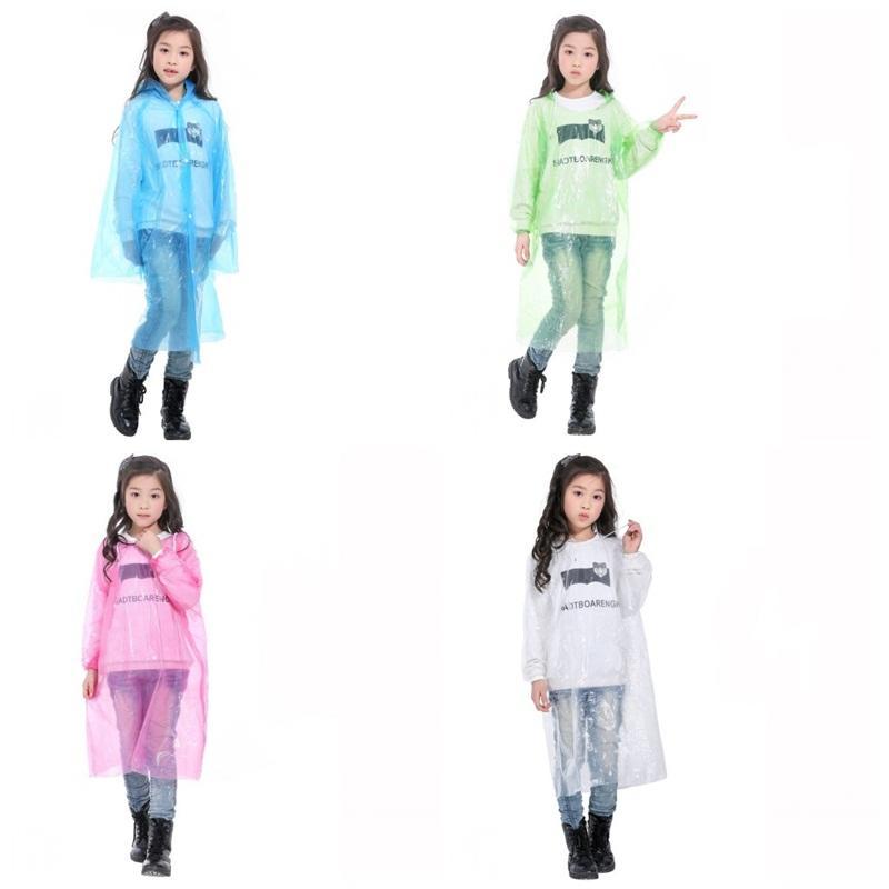 Portable usa e getta di plastica RaincoatClear elastico Cuff Hood Campo Must indumenti impermeabili One Time Poncho pioggia di emergenza di usura del capretto della ragazza di 1 8qh2 E19