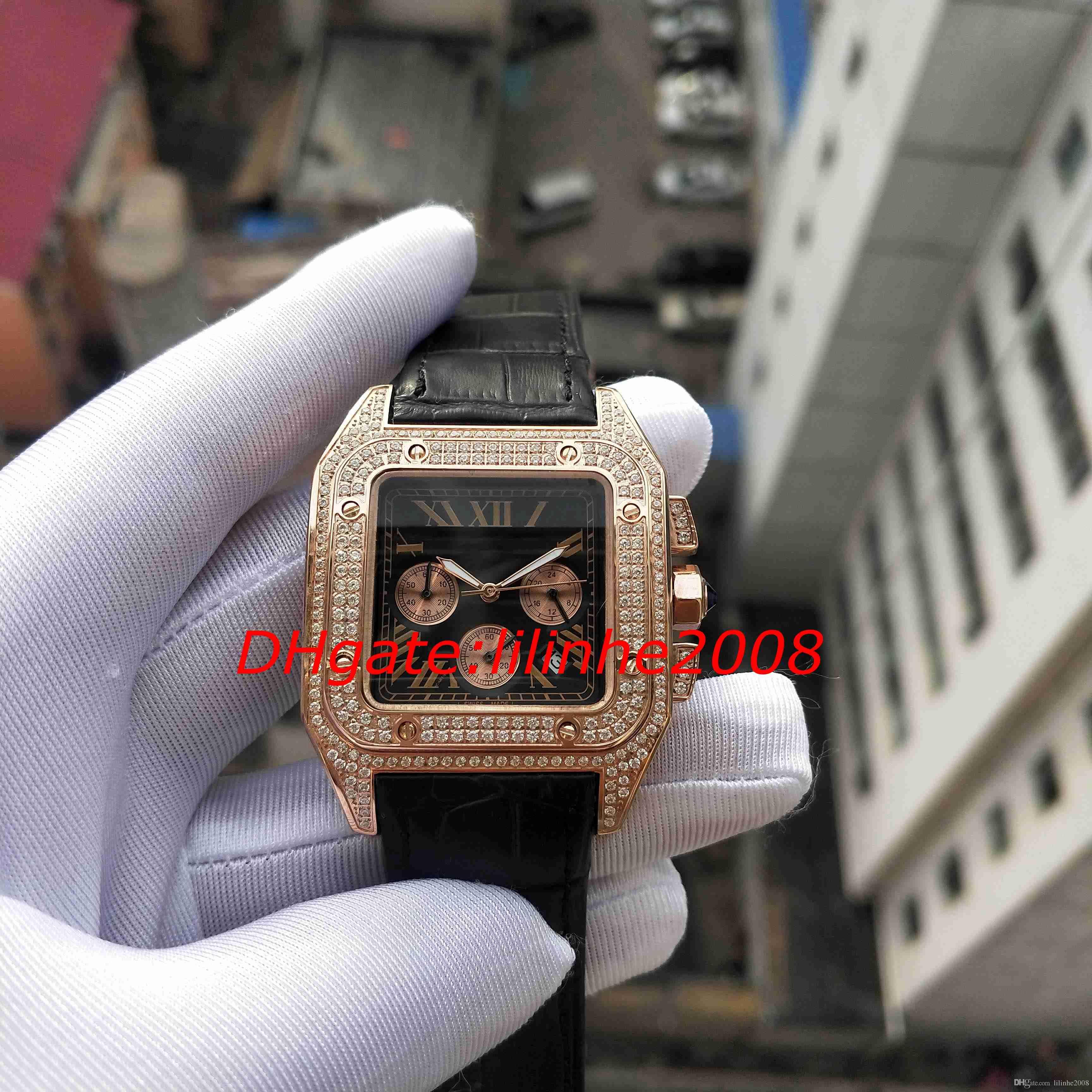W20091X7 Assista X100 Rose Gold Diamante Caso Quartz movimento de cronógrafo Trabalho Esporte Mens Relógios de luxo de qualidade relógios de pulso dos homens altos