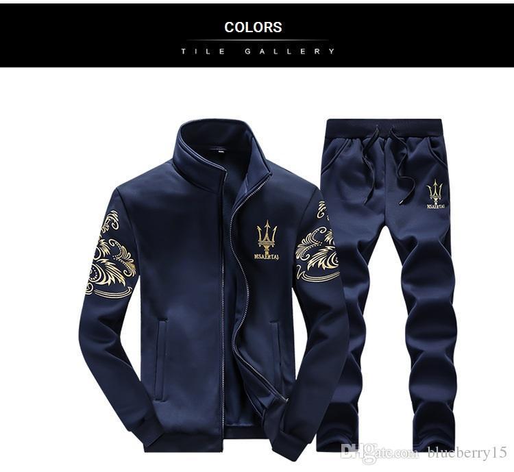 Giyim için Aismz Eşofman Erkekler Kalite Bahar Erkekler Spor Kapşonlu Hoodie + Pantolon İki Adet Ter Seti Jogger Eşofman
