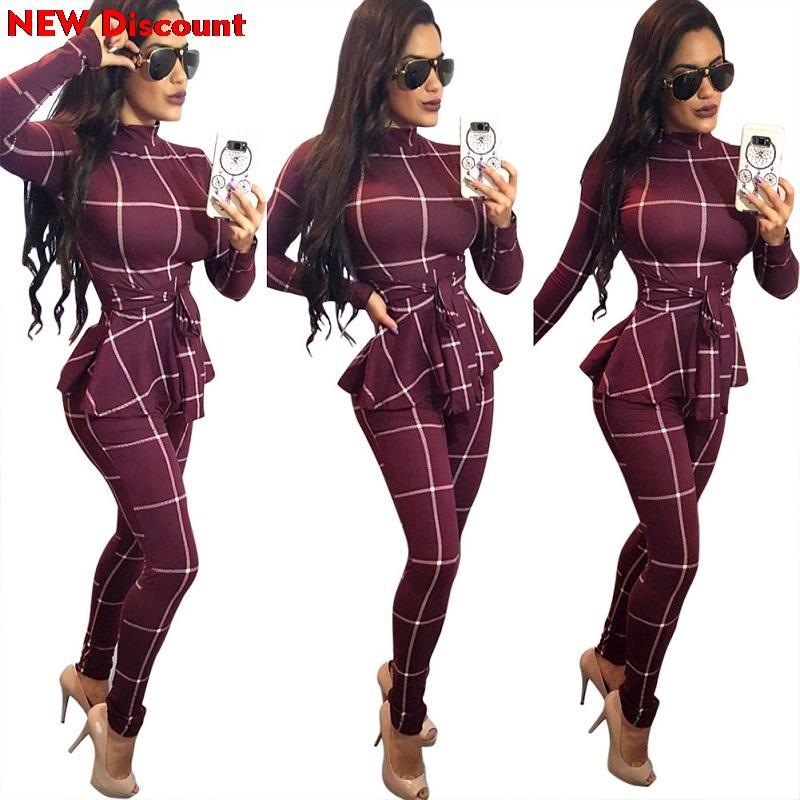 Ruffles 허리 블랙 바디 긴 소매 격자 무늬 스키니 롱 팬츠 점프 슈트 Bodycon Rompers Playsuits Elegant Woman Ceremony Suits
