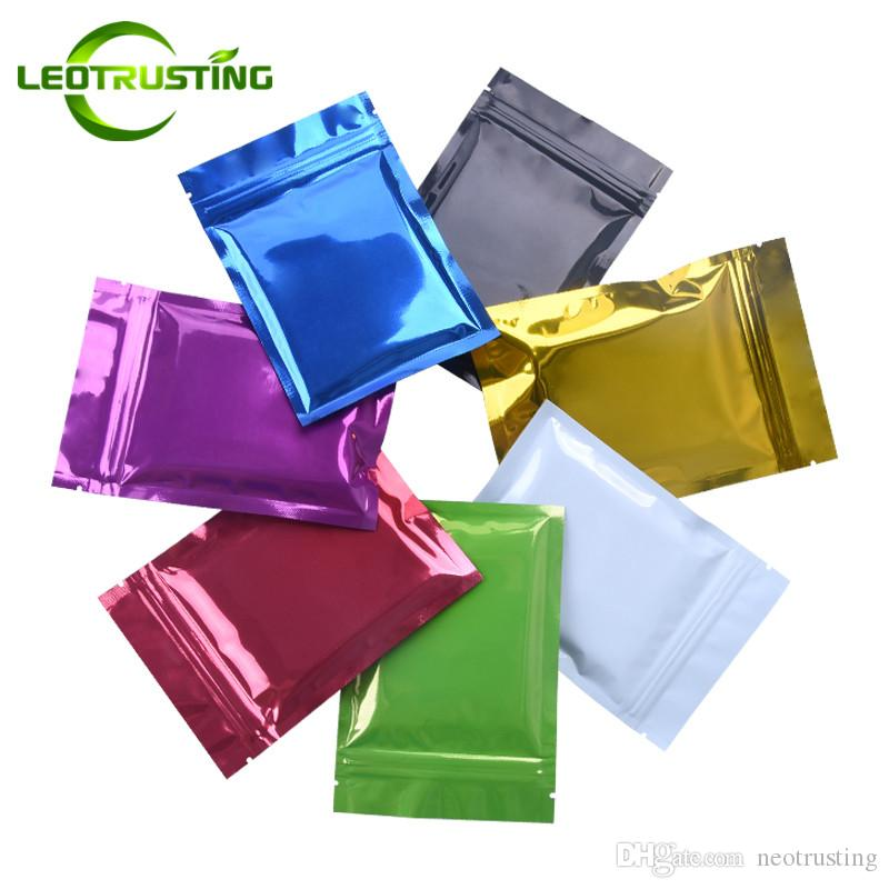 Leotrusting 100pcs / lot 플랫 하단 6 가지 색상 광택 알루미늄 호일 두꺼운 지 플락 백 색상 호일 식품 분말 스낵 너트 커피 보관 백
